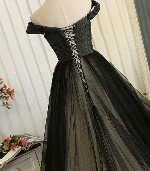 Black Handmade Tulle Off the Shoulder Party Dress, Black Evening Gown