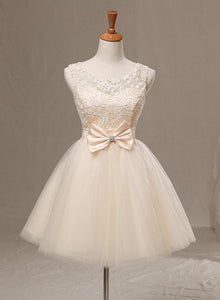 Cute Ivory Lace and Tulle Short Party Dress with Bow, Lovely Teen Formal Dress
