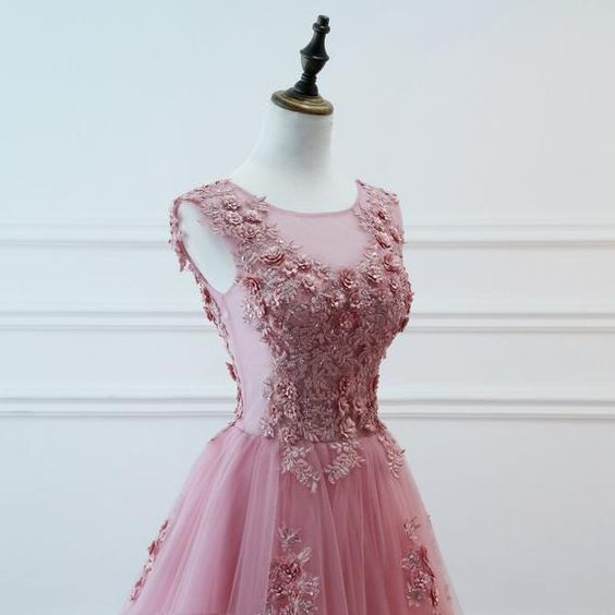 Pink Tulle with Lace Applique Long Formal Dress, Round Neckline A-line Prom Dress