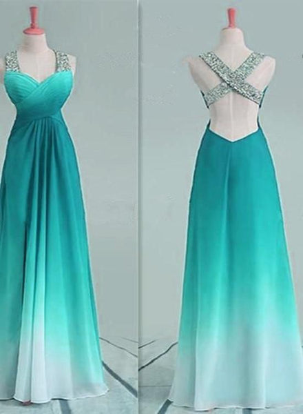 Simple Sweetheart Sequins Gradient Long Party Dress, Cross Back Prom Dress 2019