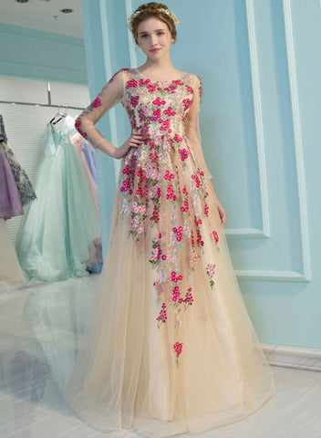 Champagne Flowers Long Sleeves Tulle A-line Evening Dress, Flowers Long Prom Dress Graduation Dress