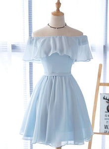 Light Blue Simple Chiffon Short Party Dress, Light Blue Bridesmaid Dress