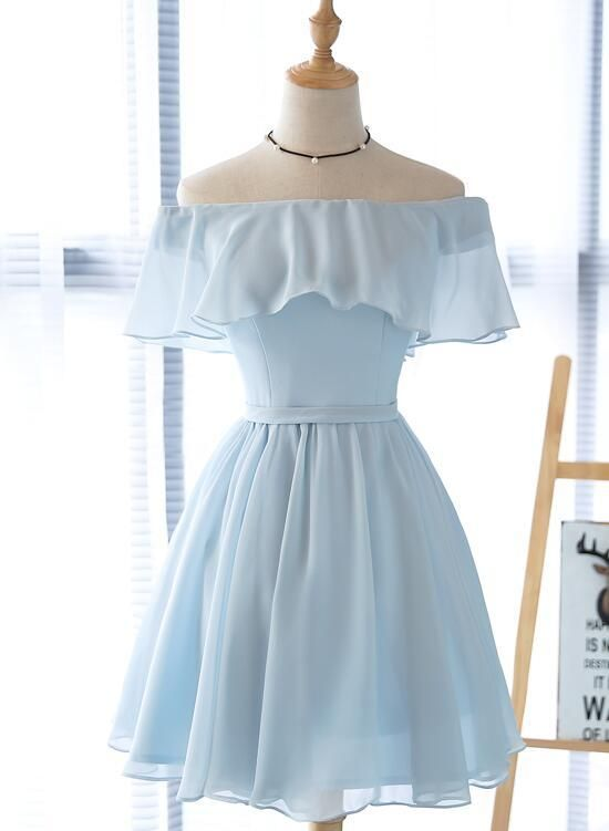 Beautiful Off Shoulder Simple Short Bridesmaid Dress, Lovely Blue Chiffon Party Dress