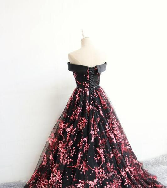 Charming Black Floral Tulle A-line Party Dress, Prom Dress 2020