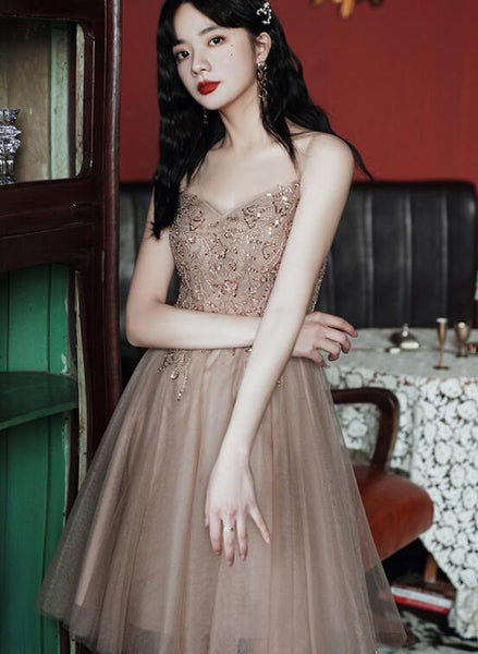 Champagne Tulle Knee Length Beaded Sweetheart Prom Dress, Short Homecoming Dress Party Dress