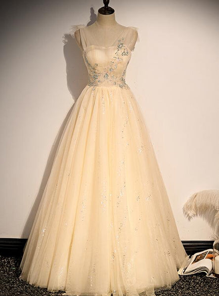Lovely Champagne Sequins Long New Style Party Dress, A-line Tulle Formal Dress
