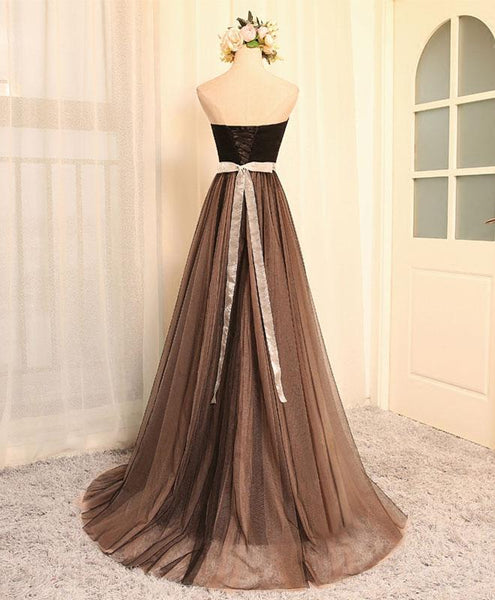 Beautiful Champagne Tulle Long Bridesmaid Dress, Wedding Party Dress