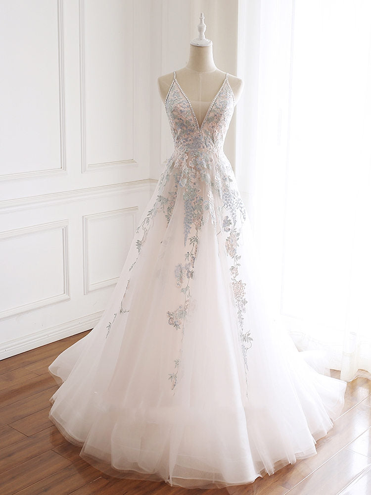 Pink V-neckline Lace Applique Floor Length Party Dress, Charming White Floral Prom Dress