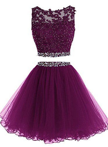 dark purple two piece dress
