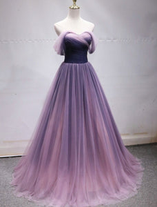 Purple Tulle Sweetheart Gradient Off Shoulder Long Party Dress, A-line Tulle Prom Dress Party Dress