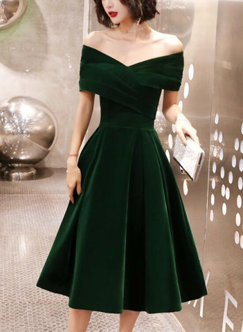 Green Velvet Off Shoulder Vintage Style Bridesmaid Dress, Tea Length Party Dress