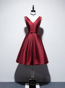 Wine Red V-neckline Satin Lace-up Homecoming Dress, Short Prom Dress