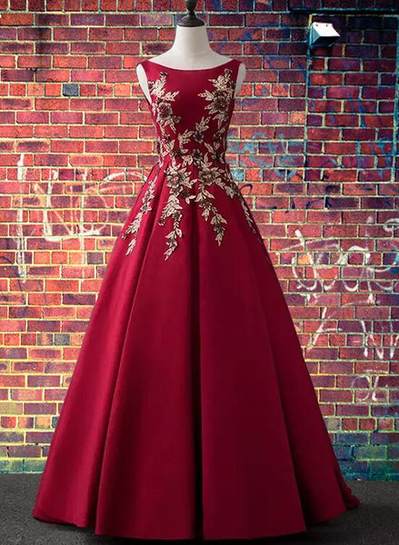 Charming Wine Red Satin Party Dress with Lace Applique, Dark Red Prom Dress