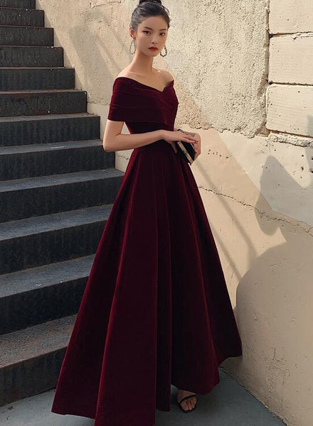 Elegant Burgundy Off Shoulder Sweetheart Velvet Party Dress, A-line Long Formal Dress Prom Dress