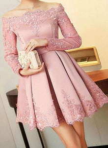 pink satin shortparty dress