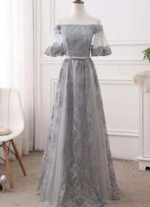 Charming Lace Off Shoulder Long Party Dress, Lace Formal Dress 2020
