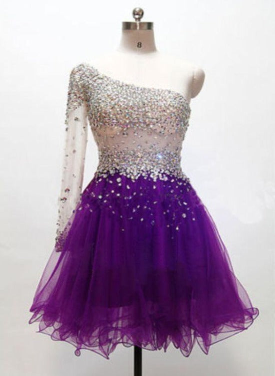 One Shoulder Sequins Purple Tulle Short Party Dress, Homecoming Dress