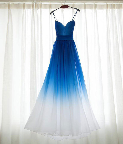 Beautiful Spaghetti Strap Blue Gradient Bridesmaid Dresses,Long Prom Dress