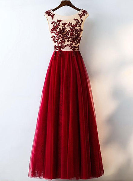 Charming Wine Red Tulle with Applique Burgundy Lace Prom Dress, Burgundy Lace Party Dress 2019