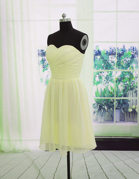 Beautiful Light Yellow Bridesmaid Dress, Short Party Dress 2020