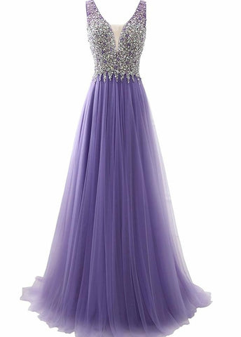 Light Purple Tulle Beaded V-neckline Long Formal Dress, Charming A-line Tulle Prom Dress