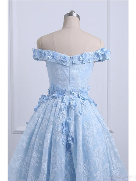 Beautiful Off the Shoulder Blue Prom Dresses Lace Applique,  High Low Prom Dress