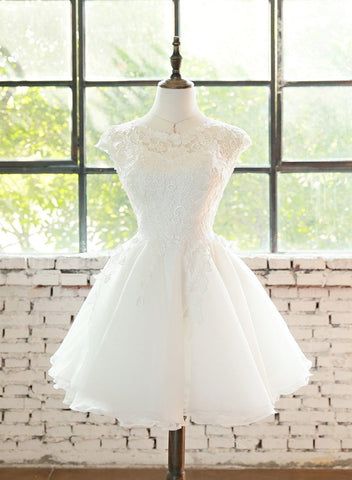 Lovely White Organza Short Cute Prom Dress, Graduation Party Dresses