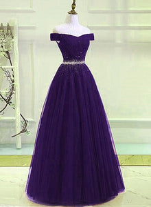 Dark Purple Tulle Long Party Dress, A-line Beaded Formal Dress 2020