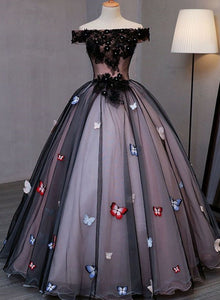 Princess Black Tulle off Shoulder Long Evening Dress with Appliqués, Sweet 16 Dresses