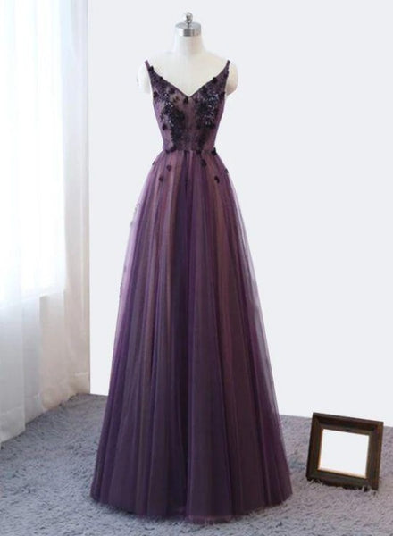 Purple V-neckline Tulle Lace Applique Party Dress, Purple Formal Dress Prom Dress