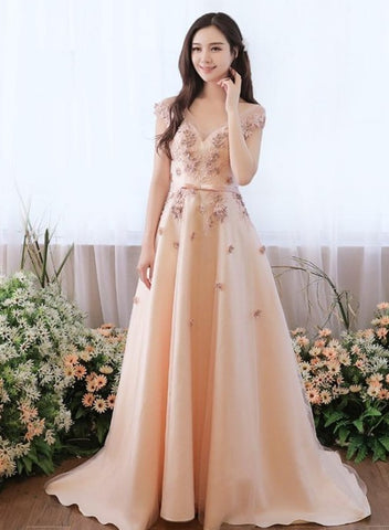 Champagne Satin and Tulle Long Party Dress with Flowers Lace, A-line Round Neckline Prom Dress Evening Dress