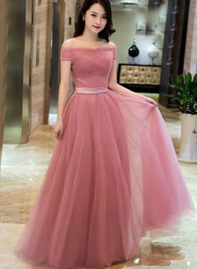 Beautiful Off Shoulder Pink Floor Length Junior Party Dress 2019, Pink Bridesmaid Dresses