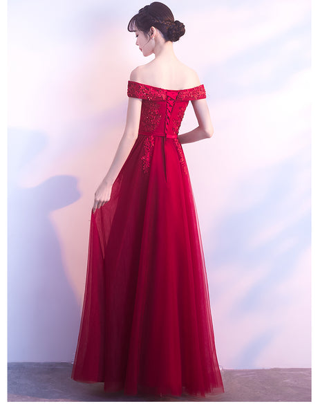 Beautiful Tulle with Lace Applique Wine Red Bridesmaid Dress, Long Party Dress