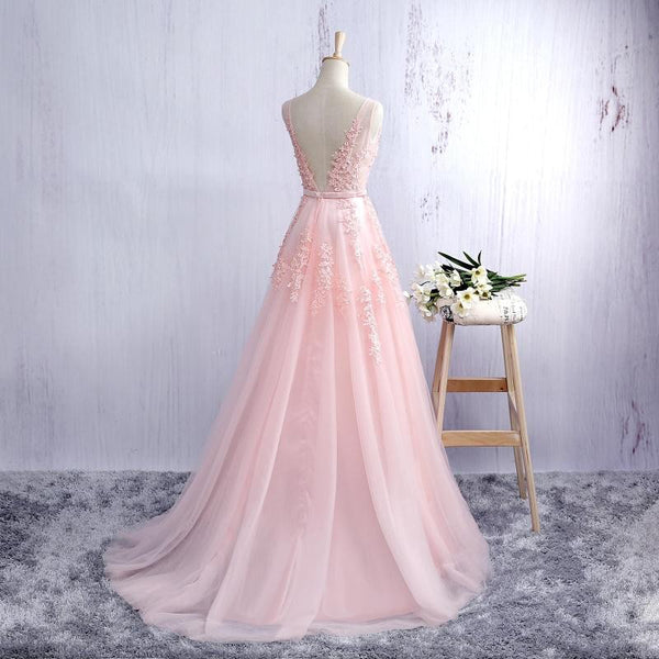 Pink V-neckline Long Prom Dress, Lace Applique Party Dress 2020