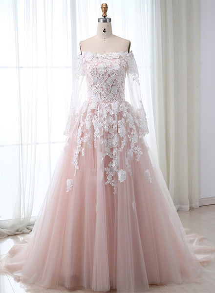 Pink Lace Tulle Long Sleeves Long Formal Dress, Pink Prom Dress, Evening Dress