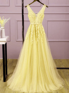 Beautiful Light Yellow Tulle Long Party Dress, A-line Prom Dress Evening Gowns