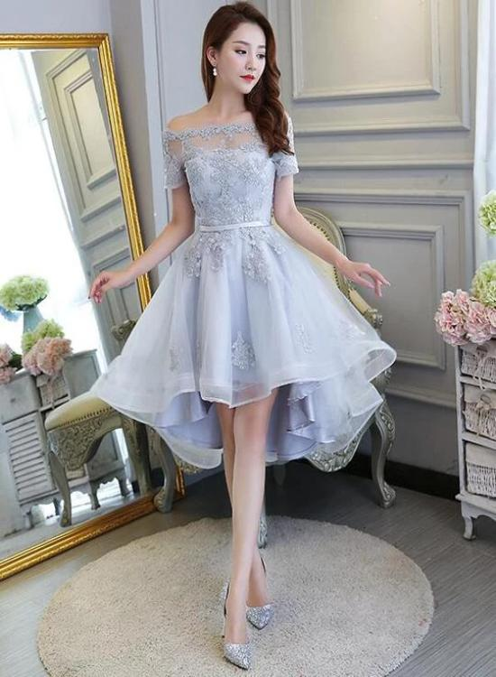 grey high low party dress
