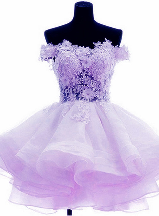 Lovely Lavender Off Shoulder Sweetheart Homecoming Dresses, Cute Prom Dress