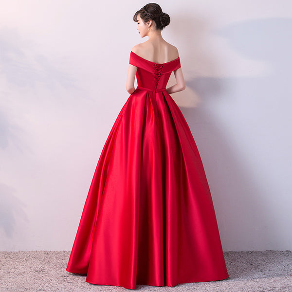 Charming Red Satin Sweetheart Long Party Dress, Red Prom Dress 2020