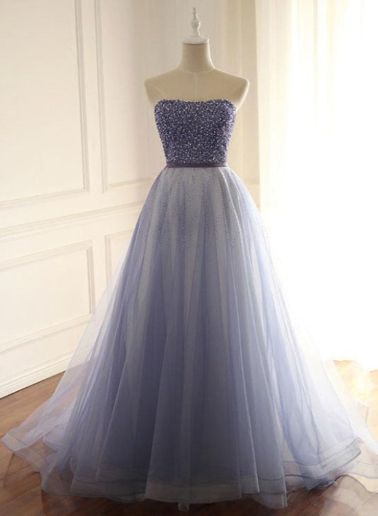 Fashionable Tulle  A-Line Long Prom Dress with Beadings, Light Purple Evening Gown