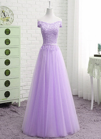 light purple long prom dress