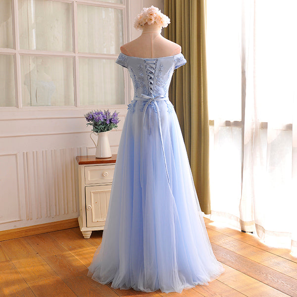 Elegant Light Blue Lace Applique Top Long Party Dress, Off Shoulder Bridesmaid Dress