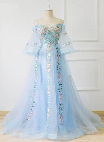 Light Blue Off Shoulder Lace Floral Long Evening Gown, Beautiful Prom Dress
