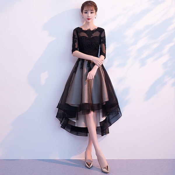 Beautiful Black Short Sleeves Lace and Tulle Party Dress 2020, High Low Prom Dress