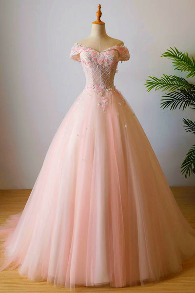 Beautiful Pink Tulle A-line Prom Dress 2020, Off Shoulder Sweet 16 Dress
