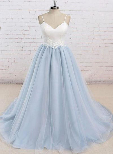 Beautiful Light Blue Tulle and White Top Long Wedding Party Gowns, Straps Junior Prom Dress
