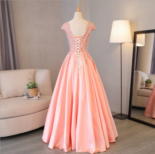 Charming Pink Satin with Lace Bodice Party Dress, Cap Sleeves Prom Dress 2020