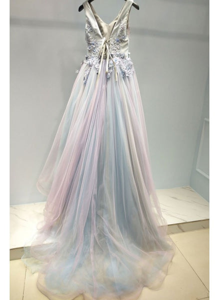 Gorgeous Tulle Pink and Grey Long Evening Party Gown, Long Tulle Party Dress