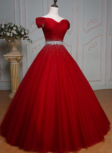 Wine Red Ball Gown Off Shoulder Beaded Party Dress, Tulle Off Shoulder Prom Dress