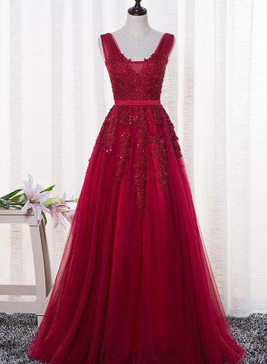 Stylish Red Party Gown 2019, Wine Red Long Bridesmaid Dress